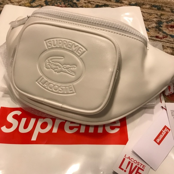 70562a42863b Supreme X Lacoste white leather waist bag